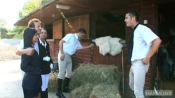 Xxx Schoolgirl Gets Fucked In The Barn For The Cows To Some Villagers, What A Fucking Anal