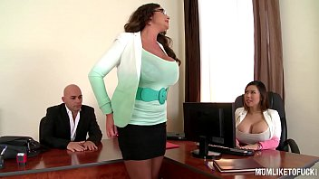 At The Office, Having Sex With Two Employed, Mature With Fake Boobs