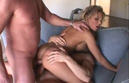 Blonde Whore Gangbanged By Two Perverts