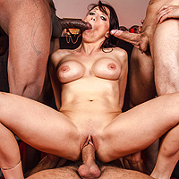 A Redhead Gangbanged By 4 Guys Who Are Burning The Anal, Vaginal And Oral
