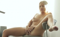 A The Blonde Girl Is Masturbating With Pleasure