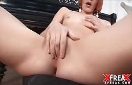 Slut Redhead Double-Penetrated By A Piano