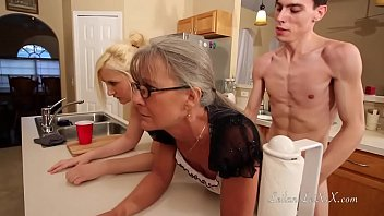 Skinny Fucks Two Hot Chicks On The Furniture In The Kitchen