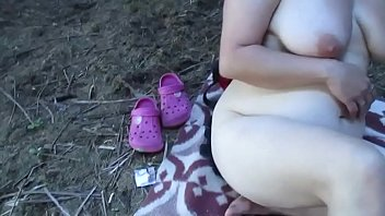 Country Porn With A Fat Mature Fucks In The Field On A Blanket
