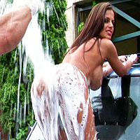 Wash The Car And Her Pussy With The Foam Then Gives Blowjob And A Fuck