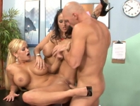 A Brunette And A Blonde With Big Tits Gets Crowded In Pula
