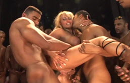 Alot Of Cocks For The Blonde Slut On The Stage