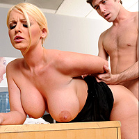 The Blonde With The Big Tits Is Fucked Between Big Boobs And Pussy
