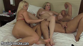 Three Lesbians With Mature With Fake Boobs Is Masturbating On Webcam