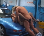 A Young Slut And Fucked Right On The Hood Of The Car In The Shop