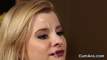 Flirty Sex Kitten Gets Sperm Load On Her Face Eating All The Sperm