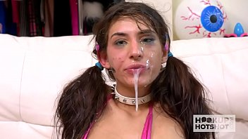 The Young 18 Year Old Suck A Huge Dick And Takes The Cum All Over Her Face