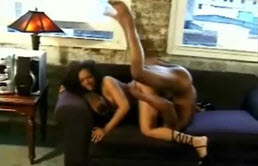 Brunette Ebony With Big Tits Gets Interracial Pounding