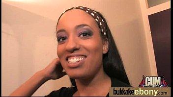Ebony Cum Slut Hottie Bukkake Party 1
