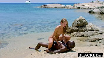 Boyfriend Cheating On The Blonde Model On The Shore Of The Sea Black And Comes
