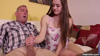 Sex With A Young Girl With Long Hair Makes Blowjob To Grandfather
