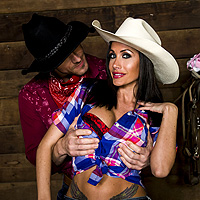 A Cowboy With A Big Dick To Fuck In The Stall For A Sexy Brunette