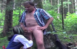 The Black Girl Does Blowjob In The Wood
