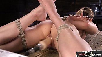 Xxx With A Pussy Tied To Her Hands And Feet And Fucked By An Electric Vibrator
