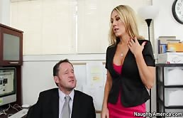 Blonde Slut Fucks Her Boss For A Promotion