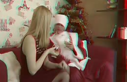 Blonde Slut Gives Santa Her Mouth And Asshole