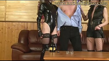 Two Stunning Doms In Leather Got A Slave