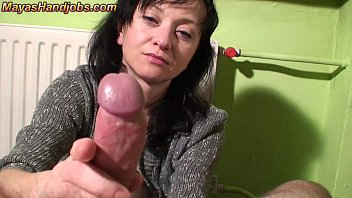 Spit On Your Dick And Rubbed The Stepson Ejaculates From Handjob