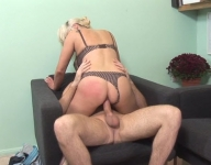 A Blonde With Huge Tits Gets Fucked On The Run, With Her Panties On