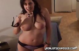 Harlot Babe With Sexy Boobs With Big Tits Dancing In Front Of The Camera