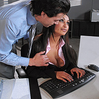 Brunette With Huge Tits Has Sex At The Office With A Colleague