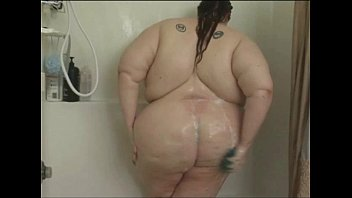 Fat Babe Soaps Herself In The Shower