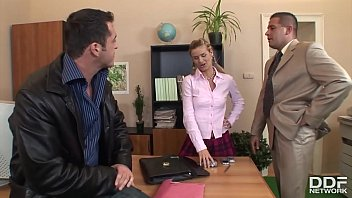 Chloe Is In The Office To Have Sex With Two Men
