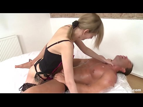 Hot Brunette Dominatrix Submissed Muscular Guy