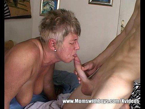 Grandma Nanny Sucking A Teen Boy's Big Cock